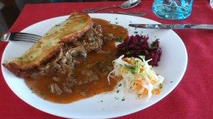 Zbojnik - beef stroganoff type stew in gluten free potate pancake