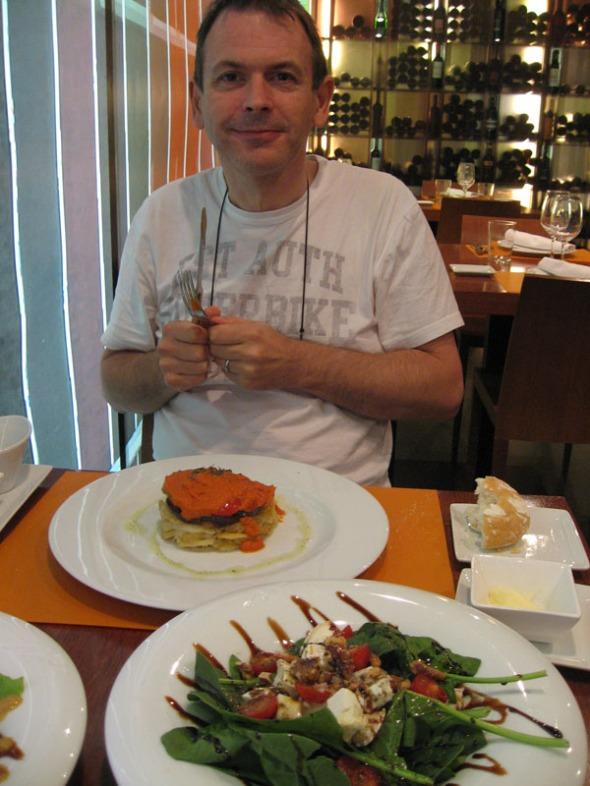 Andrew enjoying his gluten free vegetarian meal at Barandales restaurant, Madrid