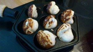 Aebleskiver pan - pancake balls often filled with apple