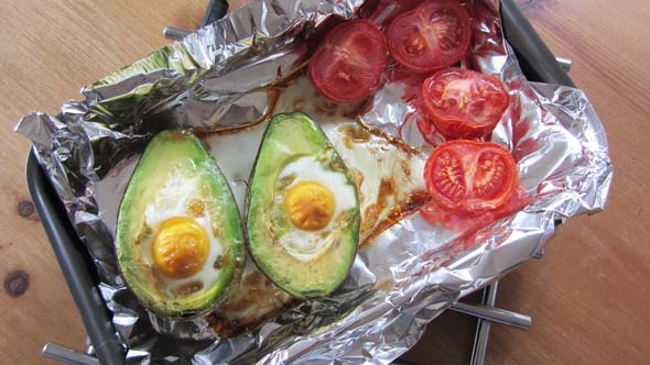 As Sara says in her recipe expect the egg to spill over the side. I didn't have small eggs - only medium for my baked egg in avocado.